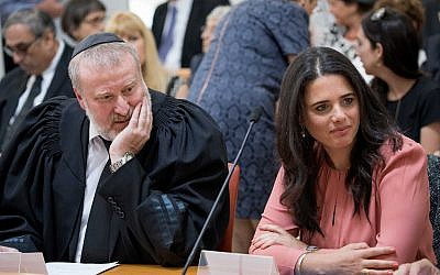 Attorney General Avichai Mandelblit, left, and Justice Minister Ayelet Shaked at a ceremony in Jerusalem on June 13, 2017. (Yonatan Sindel/ Flash90)