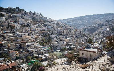 View of the East Jerusalem neighborhood of Silwan on December 3, 2017. (Yonatan Sindel/Flash90)