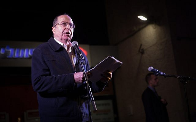 Former defense minister Moshe Ya'alon  speaks during a rally against government corruption at Zion Square in Jerusalem on December 23, 2017. (Hadas Parush/Flash90)