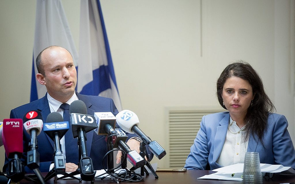Education Minister Naftali Bennett and Justice Minister Ayelet Shaked at a Jewish Home party faction meeting at the Knesset on May 7, 2018. (Miriam Alster/Flash90)