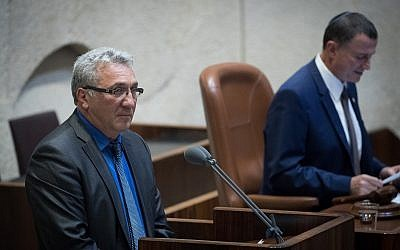 Zionist Union MK Robert Tiviaev speaks in the Knesset plenum in Jerusalem, on August 8, 2018. (Yonatan Sindel/Flash90)