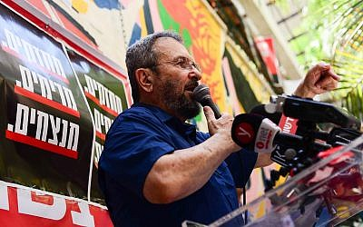 Former prime minister Ehud Barak attends the launching of the Mehazkim movement in Tel Aviv on August 24, 2018. (Tomer Neuberg/Flash90)