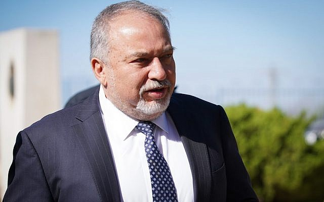 Defense Minister Avigdor Liberman in the northern West Bank settlement of Ariel on October 30, 2018. (Hillel Maeir/Flash90)