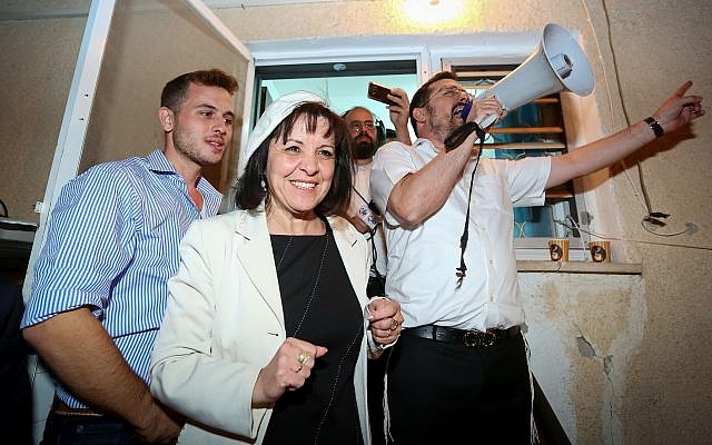 Aliza Bloch, center, on October 30, 2018. (Yaakov Lederman/FLASH90)