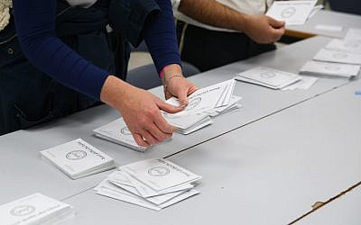 Illustrative: Vote counting in the municipal elections on October 30, 2018 (David Cohen/Flash90)