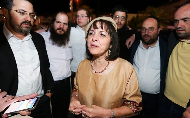 Aliza Bloch celebrates with supporters on November 1, 2018. (Yaakov Lederman/Flash90)