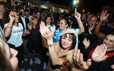 New Beit Shemesh Mayor Aliza Bloch celebrates with supporters as the results from the municipal elections are announced on November 1, 2018. (Yaakov Lederman/Flash90)