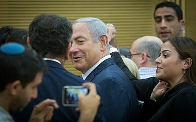 Prime Minister Benjamin Netanyahu at a Likud party faction meeting at the Knesset on November 05, 2018. (Miriam Alster/Flash90)