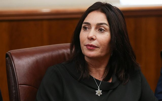 Culture Minister Miri Regev at the Prime Minister's Office in Jerusalem on November 8, 2018. (Alex Kolomoisky/Yedioth Ahronoth/Pool/Flash90)