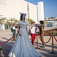 A statue of Miri Regev placed by an artist outside of Tel Aviv's Habima National Theater on November 8, 2018. (Miriam Alster/Flash90)
