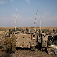 IDF forces seen gathering near the border with Gaza in southern Israel on November 13, 2018. (Hadas Parush/Flash90)