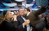 Jerusalem mayoral candidate Moshe Lion celebrates his victory with supporters at his campaign headquarters, after winning the Jerusalem municipal elections on November 14, 2018. (Yonatan Sindel/Flash90)