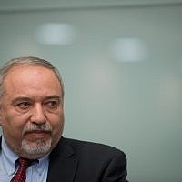 Defense Minister Avigdor Liberman announces his resignation from office following the ceasefire with Hamas in the Gaza Strip, during a press conference in the Israeli parliament, on November 14, 2018. (Yonatan Sindel/FLASH90)