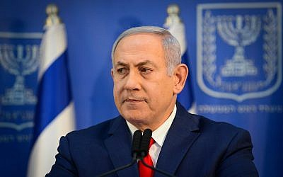 Prime Minister Benjamin Netanyahu speaks during a press conference at the Defense Ministry in Tel Aviv, on November 18, 2018. (Tomer Neuberg/Flash90)