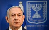 Prime Minister Benjamin Netanyahu speaks during a press conference at the Defense Minister in Tel Aviv, on November 18, 2018. (Tomer Neuberg/Flash90)