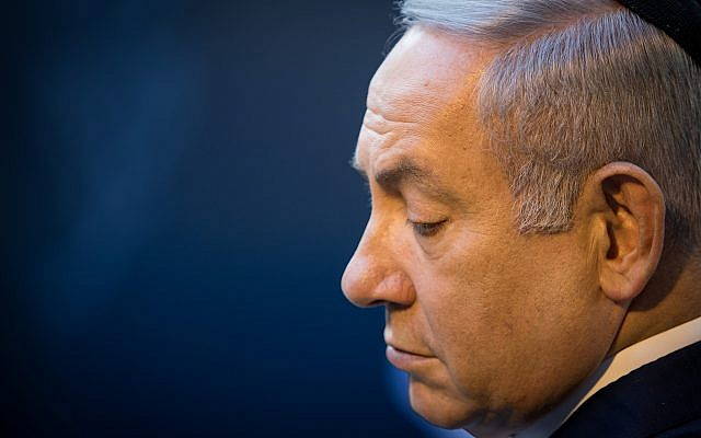Prime Minister Benjamin Netanyahu attends a memorial ceremony for former premier Golda Meir at Mount Herzl cemetery in Jerusalem on November 18, 2018. (Yonatan Sindel/Flash90)