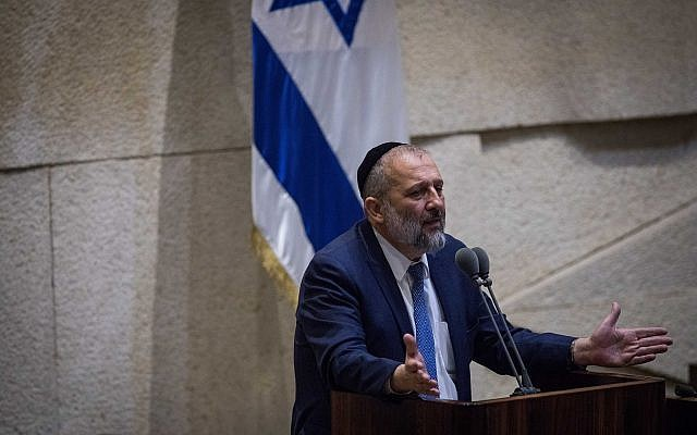 Shas party leader and Interior Minister Aryeh Deri speaks in the Knesset on November 19, 2018. (Hadas Parush/Flash90)