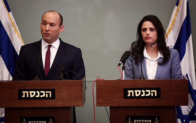 Education Minister Naftali Bennett (left) and Justice Minister Ayelet Shaked deliver a statement to reporters on November 19, 2018 (Miriam Alster/Flash90)