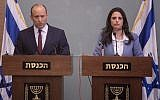 Education Minister Nafatli Bennett, left, and Justice Minister Ayelet Shaked deliver a statement during a press conference in the Knesset, November 19, 2018. (Miriam Alster/Flash90)