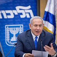 Benjamin Netanyahu leads a faction meeting in the Israeli parliament on November 19, 2018. (Miriam Alster/FLASH90)