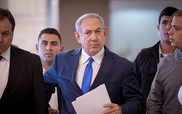 Benjamin Netanyahu arrives to a faction meeting on November 19, 2018. (Miriam Alster/FLASH90)
