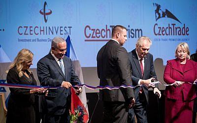 Prime Minister Benjamin Netanyahu his wife Sara and President of the Czech Republic Miloš Zeman attend the opening ceremony of the Czech House in Jerusalem, November 27, 2018. (Yonatan Sindel/Flash90)