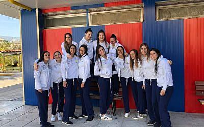 Israel's women's water polo team in Barcelona, November 5, 2018 (Matan Schwartz/Israeli Water Polo Association)