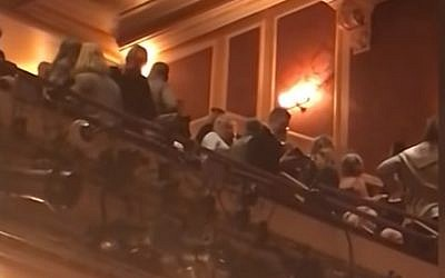 Screen capture from video of a man shouting 'Heil Hitler' during a performance of 'Fiddler on the Roof' at a theater in Baltimore. (YouTube)