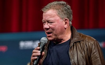 "William Shatner speaking at a ""Star Trek"" conference at the Javits Center in New York, Sept. 4, 2016. (Roy Rochlin/Getty Images via JTA)"