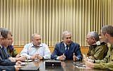 Prime Minister Netanyahu and  Defense Minister Liberman are speaking to IDF Chief of Staff Gadi Eizenkot at the IDF headquarter in Tel Aviv, November 12, 2018 (Amos Ben Gershom)