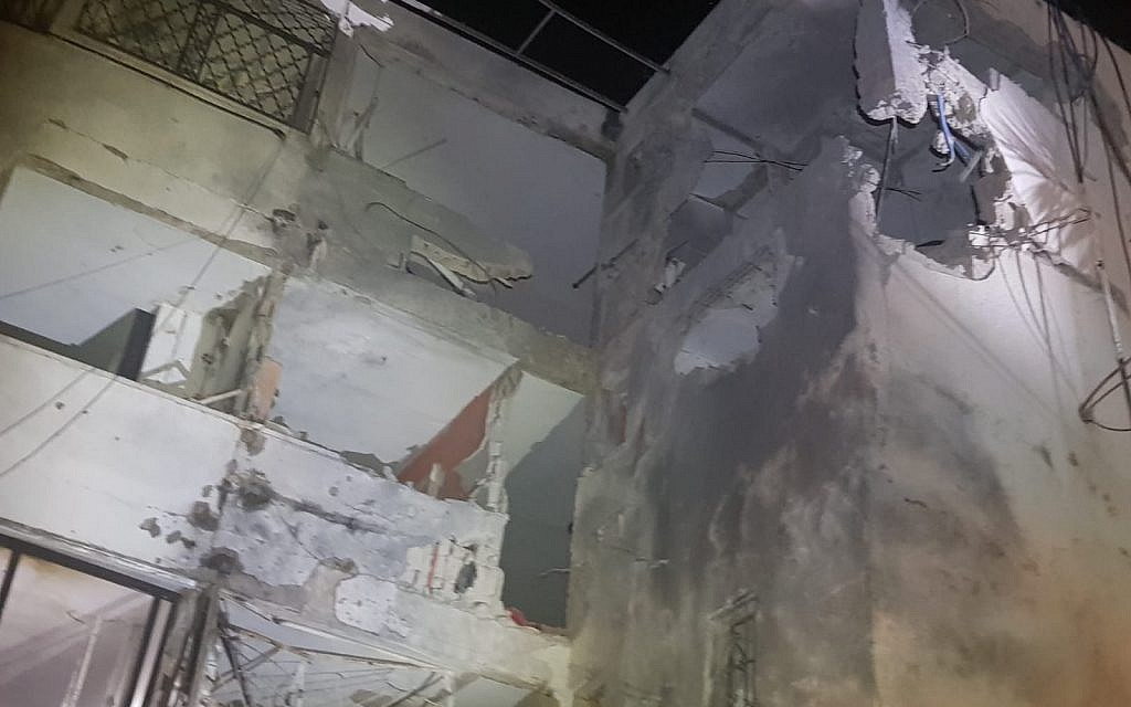 Damage to an apartment building in Ashkelon hit by a rocket on November 13, 2018. (United Hatzalah)