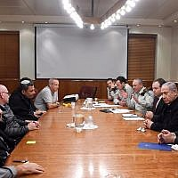 Southern community council leaders meet with Prime Minister Benjamin Netanyahu along with senior cabinet ministers and army commander, at the Prime Minister's Office in Jerusalem, November 15, 2018. (Prime Minister's Office)