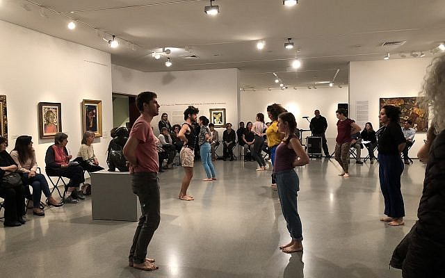 Cultural Movement dancers perform Renana Raz's 'Culture Form' at the Israel Museum, Tuesday, November 13, 2018 (Jessica Steinberg/Times of Israel)