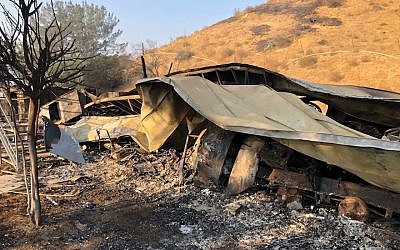 A view of the Ilan Ramon Day School in Agoura, California, after the fire. (Courtesy of Yuri Hronsky/via JTA)