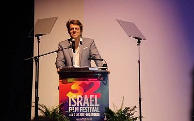 Screen capture from video of producer Jason Blum speaking at the Israel Film Festival in Los Angeles, November 6, 2018. (YouTube)