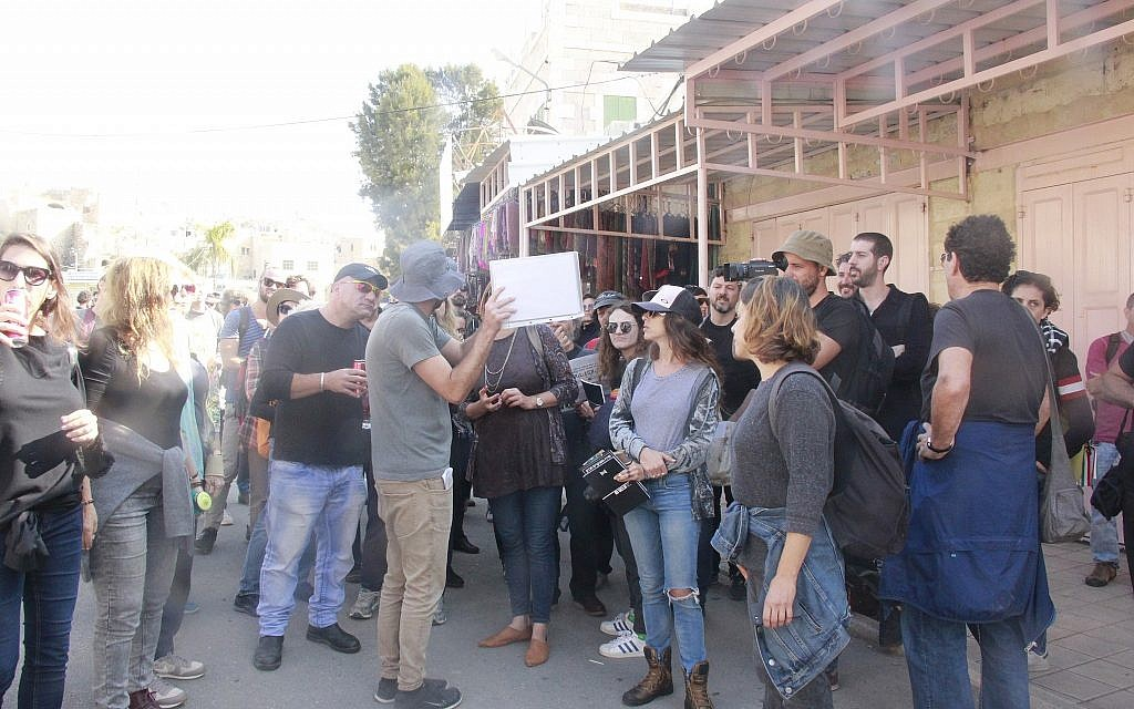 A Breaking the Silence guide leads a tour in Hebron on November 30, 2018. (Jacob Magid/Times of Israel)