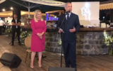 Prime Minister Benjamin Netanyahu (R) and his wife Sara at her 60th birthday party in Tiberias on November 6, 2018. (Screen capture: Twitter)