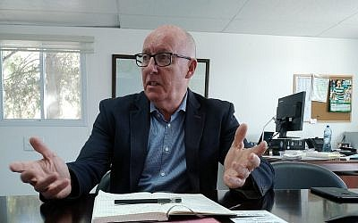 UN Deputy Special Coordinator for the Middle East Peace Process Jamie McGoldrick in his Jerusalem office, October 31, 2018 (Raphael Ahren/Times of Israel)