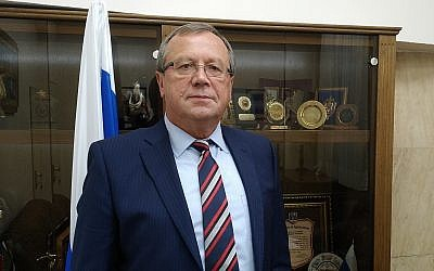 Russian Ambassador to Israel Anatoly Viktorov at the Russian Embassy in Tel Aviv, November 2019. (Raphael Ahren/TOI)