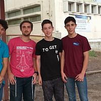 Teenage founders of the startup Enter+; from left to right Emmanual Leibovici, 17, the vice president; Moshe Schwartzberg, 16, the CEO; Ariel Safanov,16, and Elazar Zabari, 16 (Ariel Safanov)