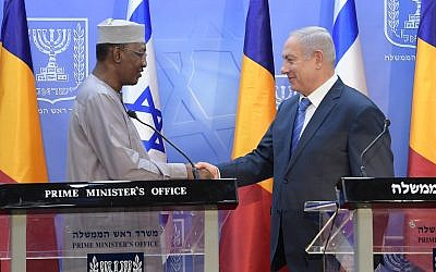 Prime Minister Benjamin Netanyahu and President Idriss Deby of Chad meet at the Prime Minister's Office in Jerusalem, November 25, 2018. (GPO)