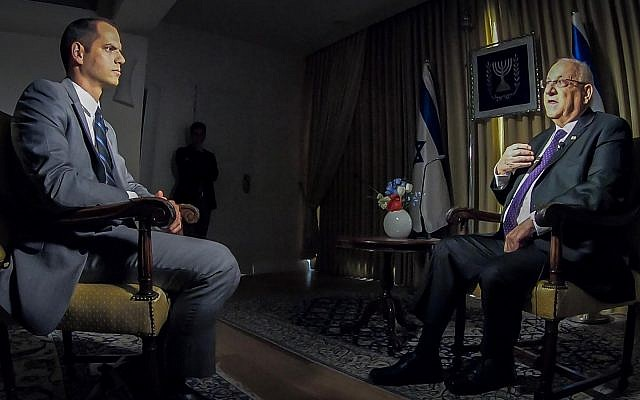 Presidente Reuven Rivlin durante uma entrevista à nova rede da CNN, 29 de novembro de 2018. (GPO / Twitter)