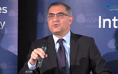Screen capture from video of Romanian diplomat Mihnea Constanescu. (YouTube)