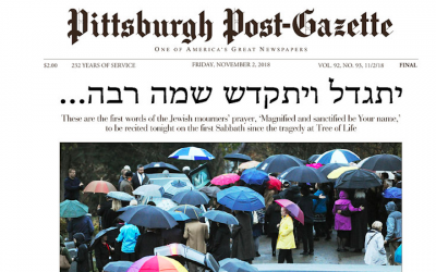 The front page of the Pittsburgh Post-Gazette on Friday November 2, 2018 (Screenshot via JTA)