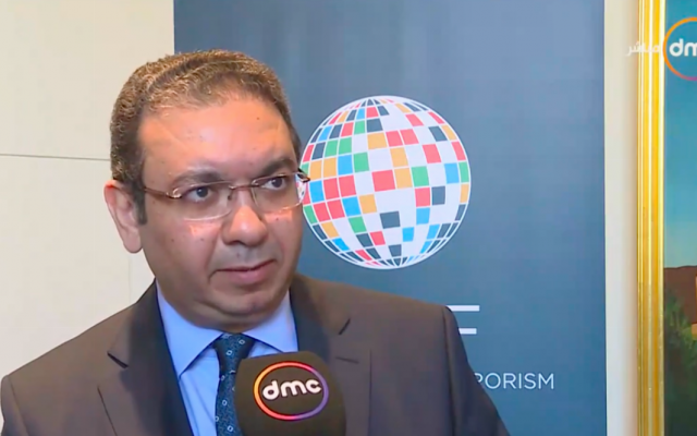 Khaled Azmi, the new Egyptian ambassador to Israel, being interviewed in January 2017. (Screenshot: Youtube)