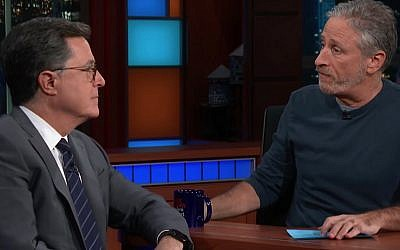 Stephen Colbert and Jon Stewart on 'The Late Show' on CBS on November 27, 2018. (Screen capture: YouTube)