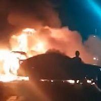 Screen capture from video of the scene where a car exploded in Tel Aviv, November 4, 2018. (YouTube)
