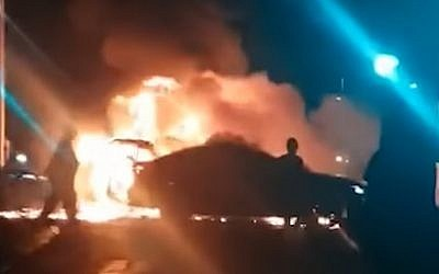 Screen capture from video of the scene where a car exploded in Tel Aviv, November 4, 2018. (YouTube)