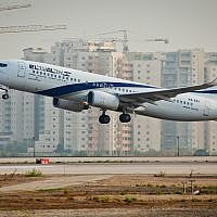 An El Al plane takes off from Ben Gurion Airport, August 5, 2013. (Moshe Shai/Flash90)