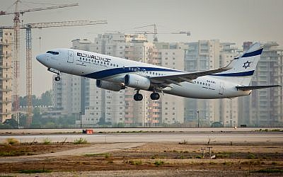 Illustrative photo of an El Al plane taking off from Ben Gurion Airport, August 5, 2013. (Moshe Shai/Flash90)